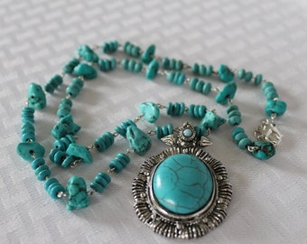 TURQUOISE JEWELRY, Turquoise Necklace, Turquoise Pendant Necklace, Turquoise Beaded Jewelry,  BoHo Jewelry, Boho Necklace, Sta