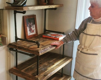 Baker's rack: Reclaimed lumber and Black steel