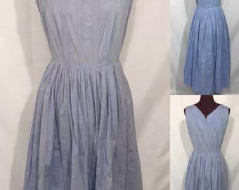 1950's-60's | Blue Day Dress | cotton blend