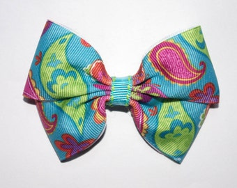 Turquoise Paisley Boutique Hair Bow