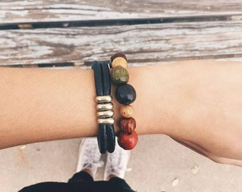 Costa Rican Rainbow Wooden Beads