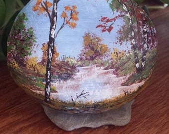 Fall Forest - Hand Painted Beach Rock