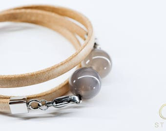 Genuine leather, Stone beads bracelet, pastel beige leather, smoky quartz, Stainless Steel, Spring and Summer fashion, women accessories