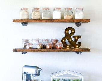 Set of 3 Floating Shelves • Floating Shelf • Wood Shelves • Wood Shelf • Pipe Shelves • Pipe Shelf • Industrial Shelves • Rustic Shelves