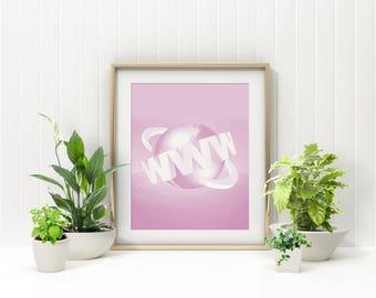 World Wide Web Print, Pink Vaporwave Cyberpop Retro Aesthetic Internet WWW Design, Minimal Printable Design