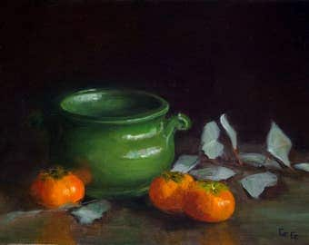 Persimmons, Original Affordable Fine Art, Still Life Oil Painting on Panel, Framed Ready to Hang or Unframed, Fruit, Still Life, Gold Framed