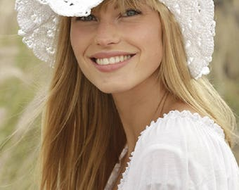 Crochet hat summer hat handmade hat cotton hat country hat women hat white hat CHOICE OF COLORS summer fashion Drops Lilith