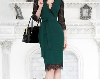 Green dress, lace summer dress with V neck, Green bodycon dress , summer dress short sleeve, elegant dress, wedding dress, work office dress