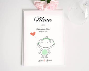 Wedding menu simple and enjoyable with frog. May be completed with invitations and mass booklets. Customizable menu.