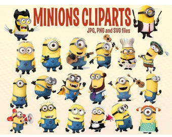 20 Minions Cliparts, Printable Minions, Despicable Me Cliparts,Minions Stickers, Minions Vector, Minions SVG, 300 ppi