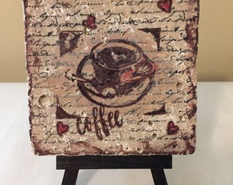Coffe Lovers  distressed look Tile  Art with Easel Stand