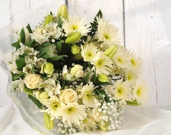 Sympathy Bereavement Flowers - All White Flower Bouquet - Delivered FREE Next Day UK 7 Days a Week - Condolence or Funeral Arrangement