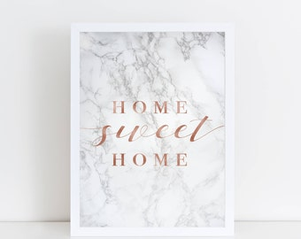 INSTANT DOWNLOAD | Marble Print | Home Print | Textured, Rose Font | Wall Art