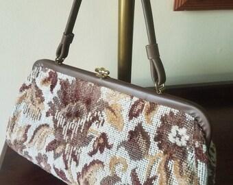 Vintage handbag // brown floral tapestry