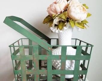 Chippy Green Metal Basket