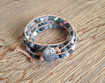 Triple leather wrap bracelet, wrap bracelet, beaded bracelet, leather wrap bracelet
