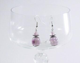 Violet bead earrings, earrings shiny, handmade earrings, elegant woman earrings, silver plated earrings, Hanging earrings