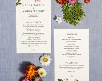 Botanical Floral Order of Service Wedding Program Printable