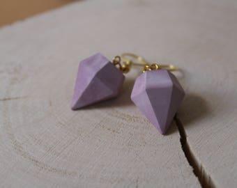 Ceramic porcelain diamond earrings Watercolour Rosé gold one of a kind