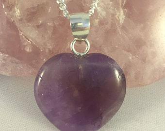 AMETHYST & Sterling Silver Heart Pendant on Sterling Silver Chain.