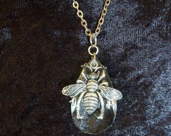 Bee necklace with vintage chandelier crystal