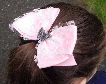 Pink Hair Bow with Silver Butterfly Accent