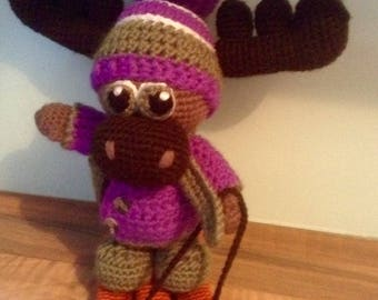 Crochet moose with sled