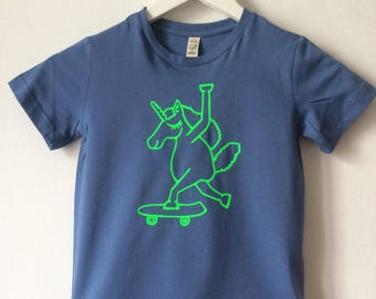 Skater - kids shirt, Unicorn, kids, shirts, love, print, neon, green, skateboard