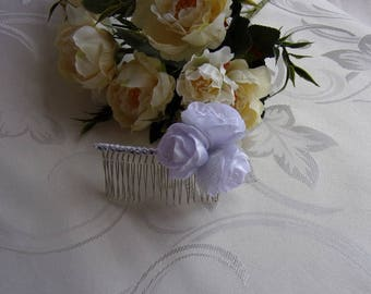 White bride/comb barrette hair comb with satin/kanzashi flowers, roses