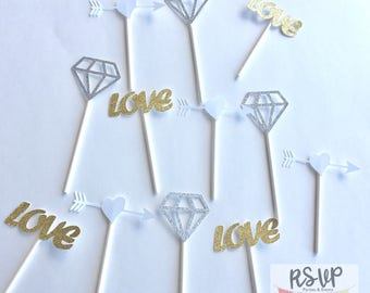 12 Wedding Cupcake Toppers, Engagement Party Cupcake Toppers, Bridal Shower Cupcake Toppers, Love Cupcake Toppers