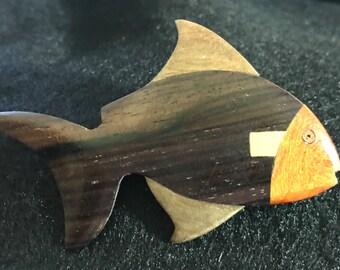 Wooden Fish Brooch