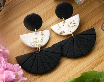 Polymer Clay Earrings~ Black White Earrings~ Handmade Jewelry~ Polymer Clay Jewelry~ Gold Leaf Jewelry~ Dangle Earrings