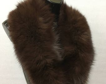 Luxury Brown Fox Fur Collar