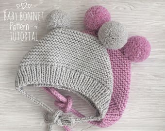 Baby bonnet pattern PDF| Knitted Bonnet Pattern |  Bonnet with pompoms | Knitting pattern digital download
