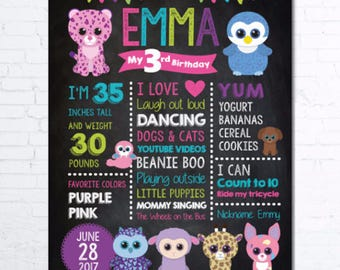 BEANIE BOO Birthday Chalkboard Poster, Birthday Stats, Birthday Photo Prop, DIGITAL