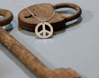 Peace sign necklace sterling silver peace symbol necklace hippie peace sign necklace hippie necklace