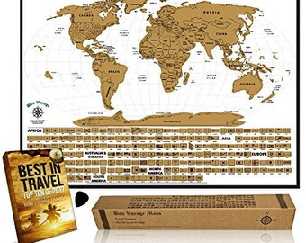 World Travel Tracker Map - Scratchable World Map Poster with US States and 210 Flags. Scratch Map/World Scratch Off Map & Ebook Included
