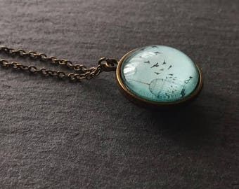 Mint Pendant - Bird in Cage Necklace - Bird Necklace Double Sided Long Necklace