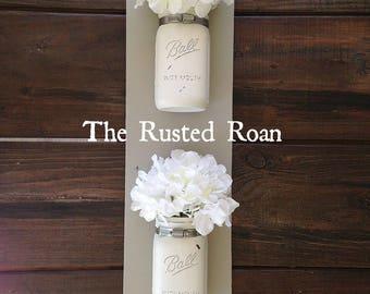 Mason Jar Wall Decor, Painted Mason Jars, Rustic Mason Jar Decor, Mason Jar Decor, Rustic Decor, Farmhouse Decor, Double Mason Jar Sconce