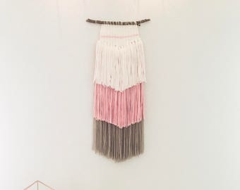 Sloane   Woven Wall Hanging, yarn weaving, woven tapestry, baby girl nursery, girl bedroom, wall art, blush grey and white home decor