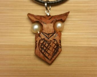 Wooden Owl Pendant Necklace