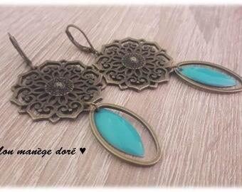 Bronze shuttle prints blue epoxy earrings