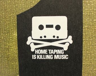 home taping is killing music heat press transfer iron on for t-shirts, sweatshirts