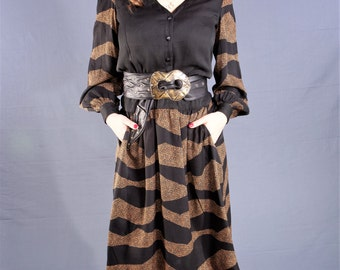 Designer Jean Louis COUTURE, 1970's Silk Dress, with Fab Brass & Leather Belt, Size 6-8