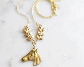 Horse Garland | Vintage Style Brass Necklace
