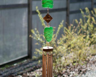 Wind Chime Emerald Green Sea Glass Copper Stained Glass Outdoor Windchimes
