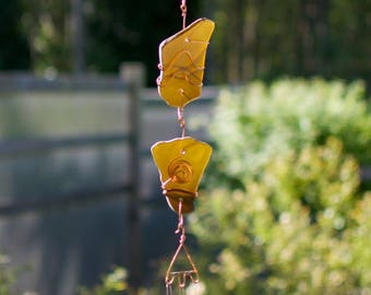 Wind Chime Sun Catcher Glass Copper sea glass, beach glass, stained glass outdoor windchimes