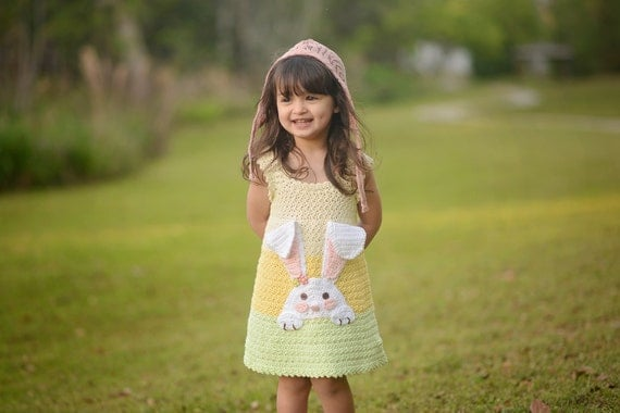 Crochet Bunny Dress Pattern, Easter Crochet Sundress Pattern, Girls Crochet Dress Pattern, Spring Dress Crochet Pattern - 12 mos - Size 10