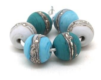 Teal Turquoise Grey Bead Pairs SRA Lampwork Beads