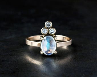 Rainbow Moonstone Crown Ring, Diamond Cluster, Moonstone Ring, Unique Engagement Ring, Rose Cut Moonstone, 14k Yellow Gold, Conflict Free